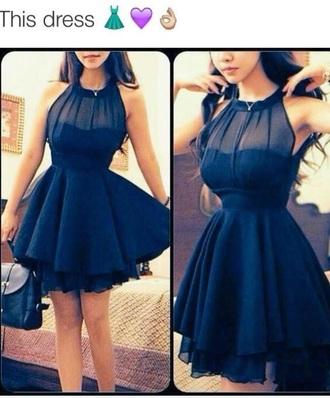 dress blue dress high neck line cute dress