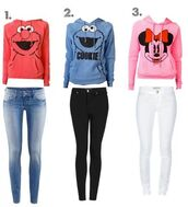 sweater,elmo,cookie monster,minnie mouse,sweatshirt,red,light blue,baby pink,jacket,pants,jeans,elmo cookie monster minnie mouse