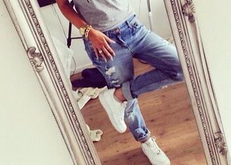 jeans denim boyfriends holes holed jeans fashion