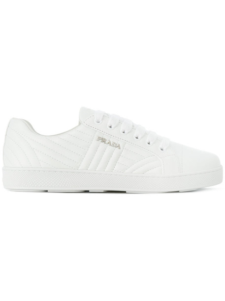 Prada women quilted sneakers leather white shoes