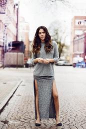 skirt,long skirt,grey