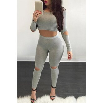 jumpsuit curvy sexy gorgeous style rose wholesale bodycon ripped chic instagram streetstyle fashion trendy sporty casual gym long sleeves two-piece workout leggings grey