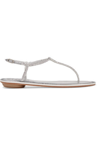 metallic embellished sandals leather sandals silver leather shoes