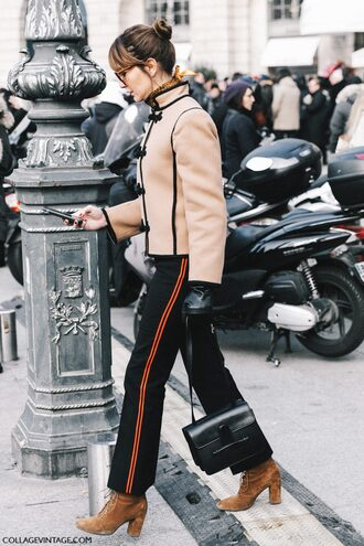 jacket tumblr fashion week 2017 streetstyle camel camel jacket nude jacket pants black pants flare pants side stripe pants boots brown boots high heels boots suede suede boots bag black bag leather gloves gloves