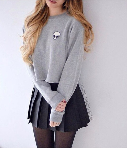 Sweater: emoji print, grey, grey sweater, alien, cute sweaters ...