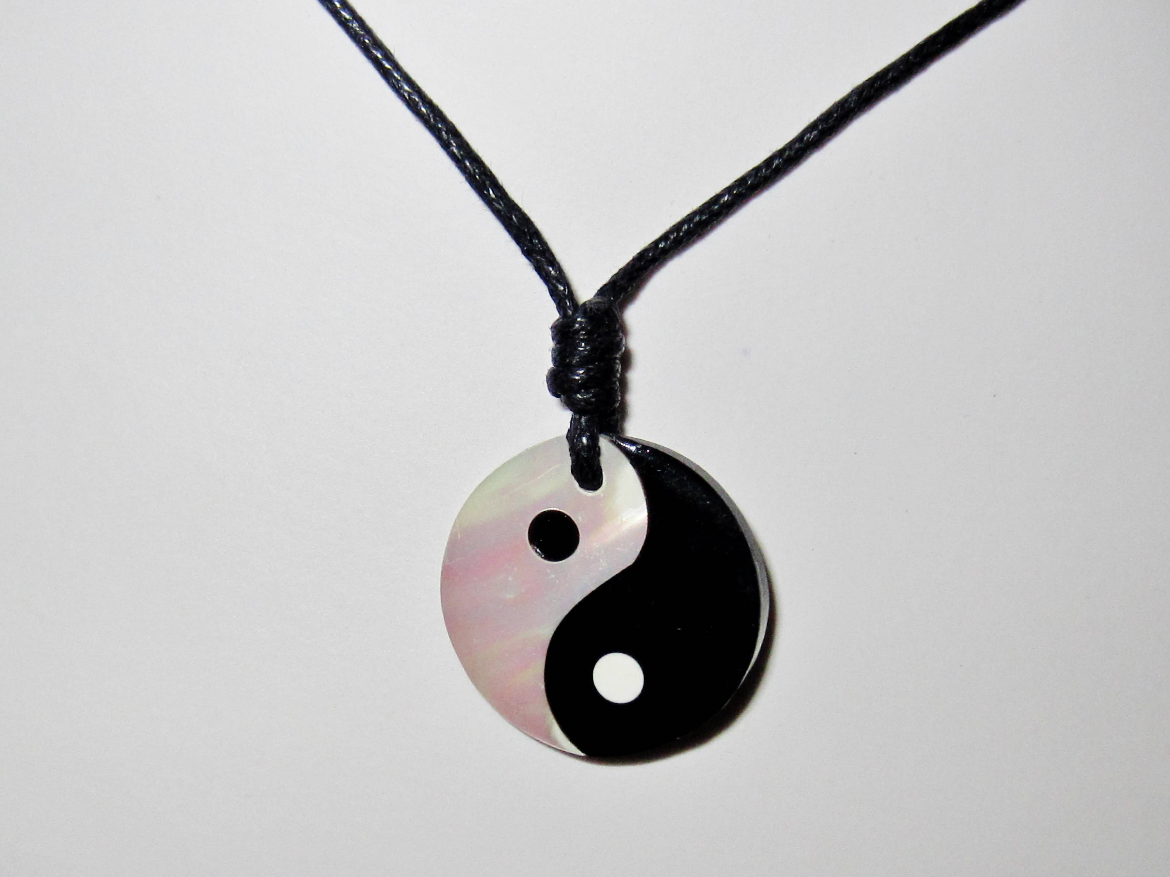 Black White Yin Ying Yang Pendant With Black Cord Necklace