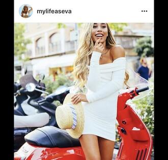 dress off the shoulder dress white dress mini dress bodycon dress mylifeaseva off the shoulder hat instagram white