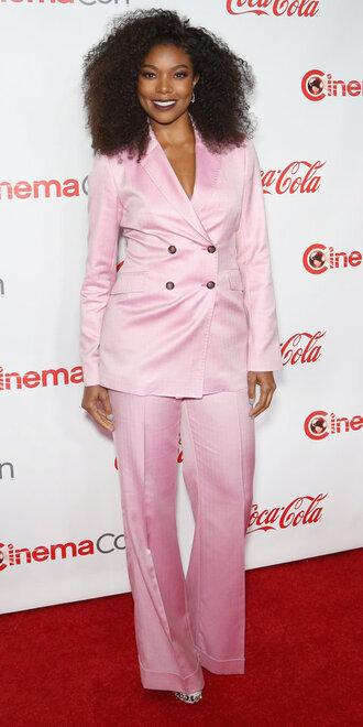 pants suit blazer pink gabrielle union jacket