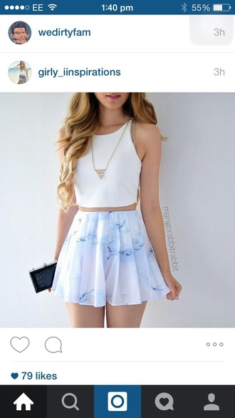 top white crop tops marble skirt fashion outfit look summer white blue shirt necklace floral pastel crop similar and low price