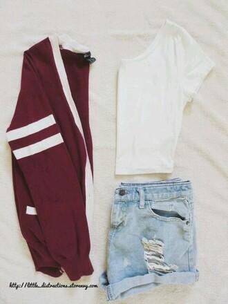 cardigan varsity jacket burgundy sweater cute outfits