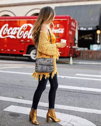 shoes tumblr boots ankle boots gold boots metallic boots denim cardigan yellow bag fall outfits