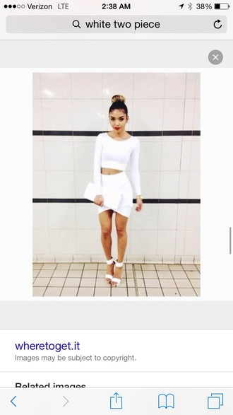 dress white twopeice crop tops