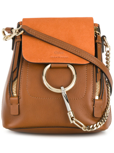 Chloe mini women backpack leather brown bag