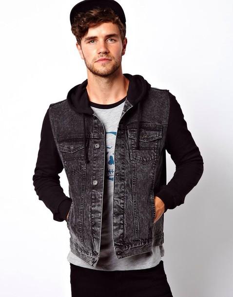 jacket denim jacket hoodie denim black sleeves grunge jumper black blue boho - Jacket: Denim Jacket, Hoodie, Denim, Black Sleeves, Grunge, Jumper