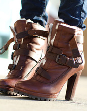 shoes,high heels,boots,wool,buckles,brown,heels,leather,high heels boots,buckle boots,lace up boots,brown leather boots,fur boots,platform high heels,boho,black boots with brown heel,brown booties,heel boots,brown leather heeled boots with buttons on the front