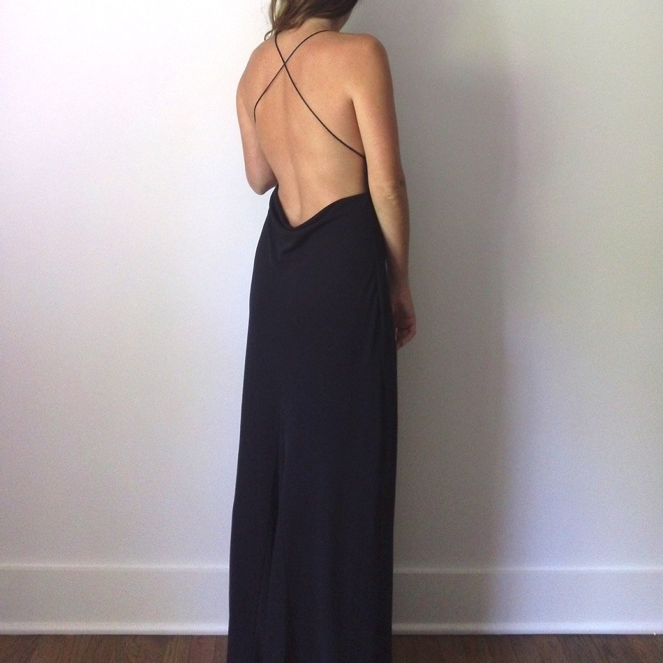 backless maxi dress cowl open back long black maxi gown