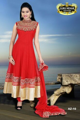 dress beautiful red sexy golden india indian indian dress india love indian designer salwar kameez designer gurumehar guru mehar