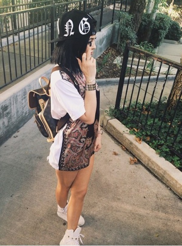 t-shirt t-shirt dress paisley dope black cap shoes kylie jenner sneakers jacket silver jewels jewelry gold bracelets stacked bracelets kylie jenner jewelry kardashians keeping up with the kardashians top cool t-shirt girl trendy pattern kylie jenner dress bag t-shirt dress shirt cap