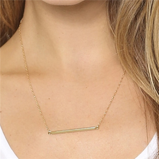 Gold simple stick necklace. length 19.68