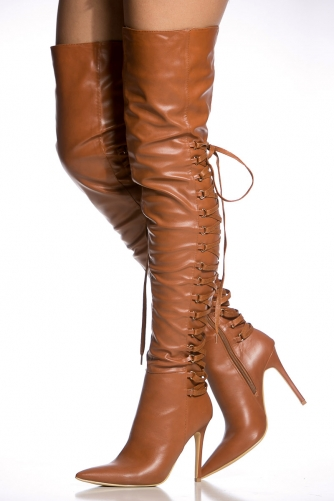 3a2ccf5ca772 Camel Faux Leather Thigh High Pointy Boots @ Cicihot Heel Shoes online  store sales:Stiletto Heel Shoes ...