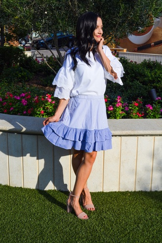 outfits&outings blogger skirt top shoes jewels blue bag sandals high heel sandals summer outfits