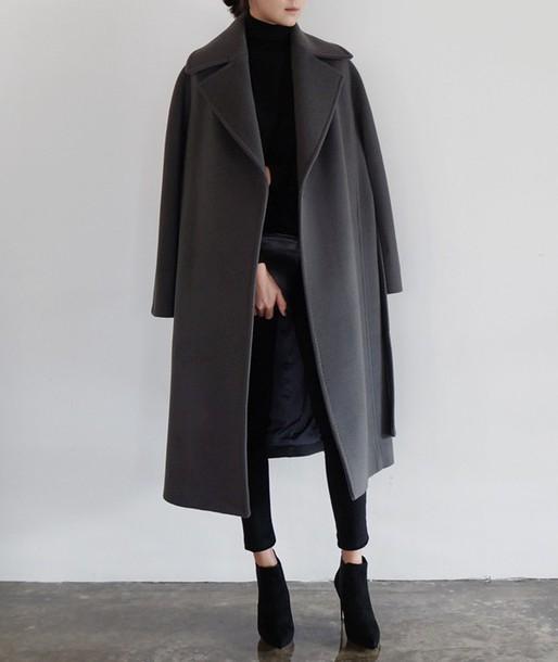 coat matte grey coat minimalist boyfriend coat
