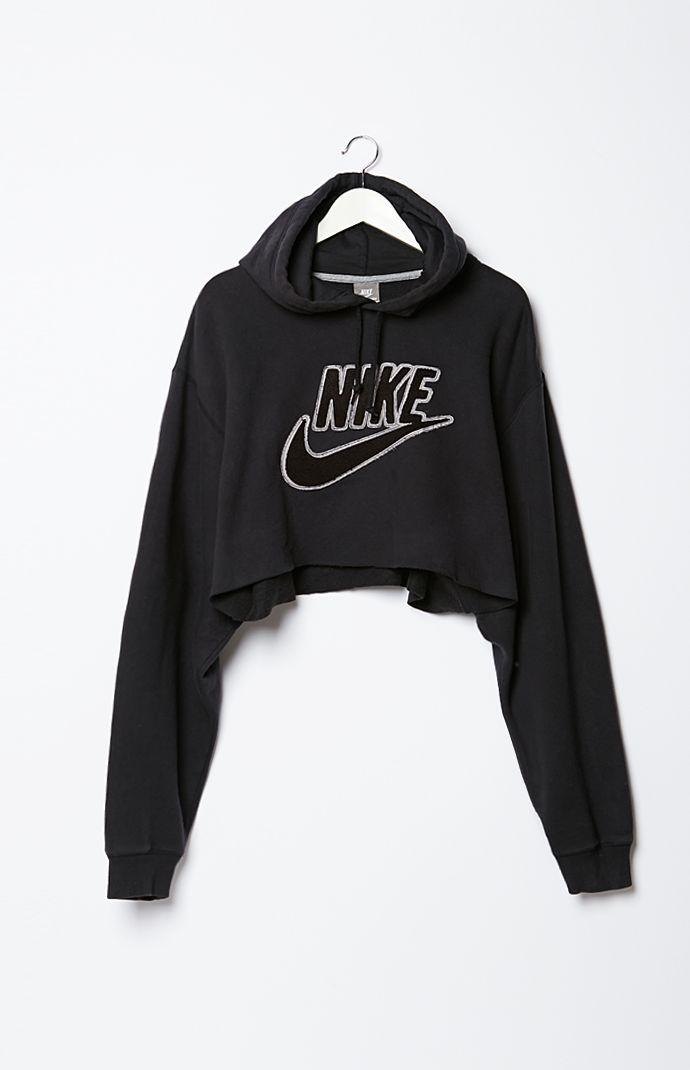 retro gold vintage nike cropped fleece hoodie sweatshirt. Black Bedroom Furniture Sets. Home Design Ideas