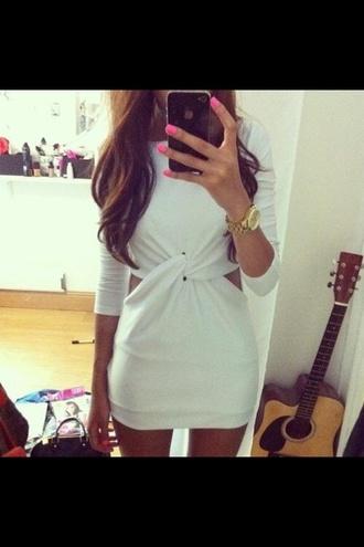 dress short white cut out twist mini
