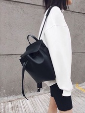 bag,leather black bag backpack,sweater,white sweater,oversized sweater,black backpack,leather backpack,minimalist,black and white