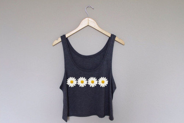 tank top flowers t-shirt daisy cute yellow white blue daisy blue daisy top daisy daisy tank top 4 daisies four daisies daisy jumper daisy dress daisy shorts black tank top black crop top crop tank daisies top