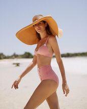 swimwear,bikini,swimming suit,pink bikini,bikini top,bikini bottoms,hat,big hat
