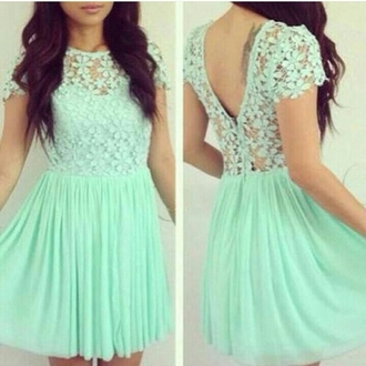 dress cute dress cute short dress backless dress backless mint green mint dress green dress lace lace dress