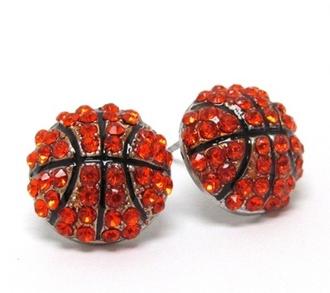 jewels basketball stid earrings crystal stud