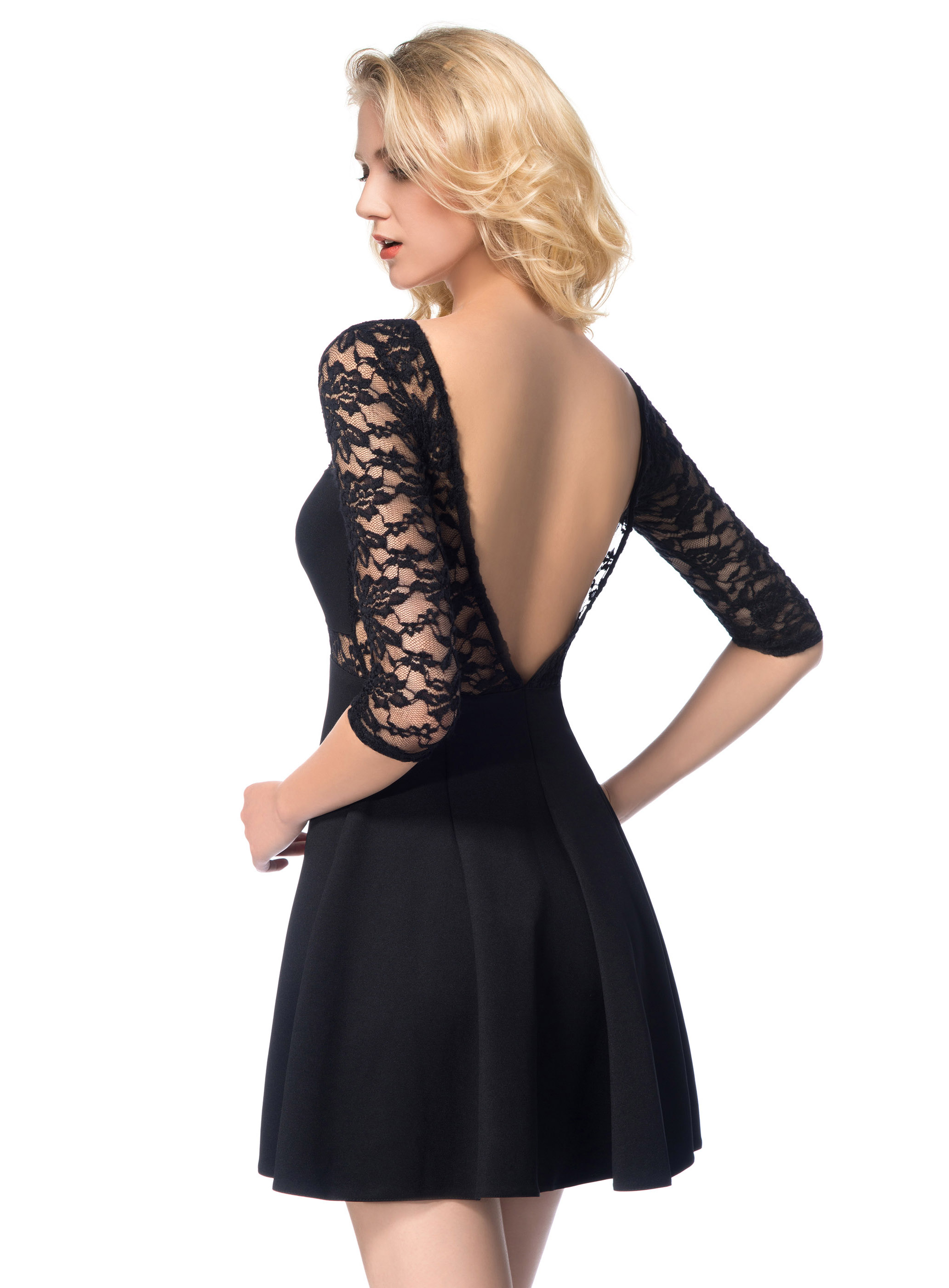 Charming patchwork backless half sleeve lace dress