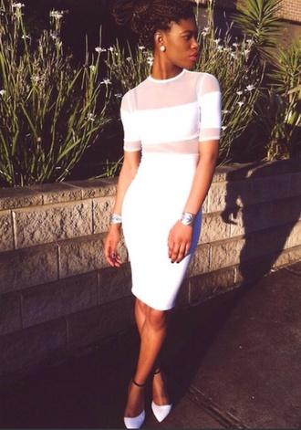 dress white mesh summer tight