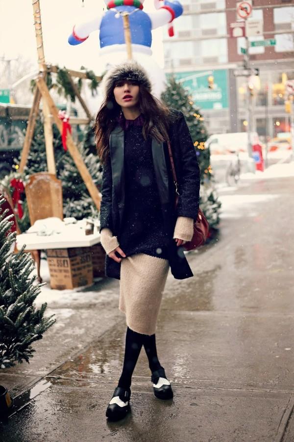 natalie off duty dress jeans coat t-shirt shoes hat