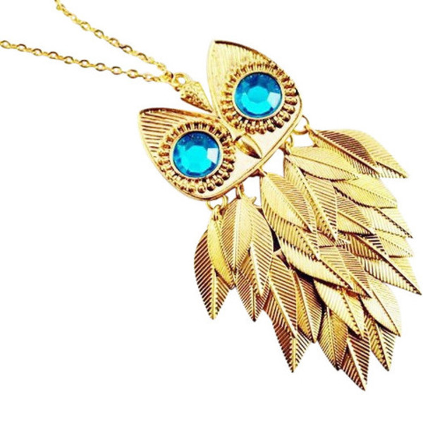 jewels owl gold blue eyes owl necklace