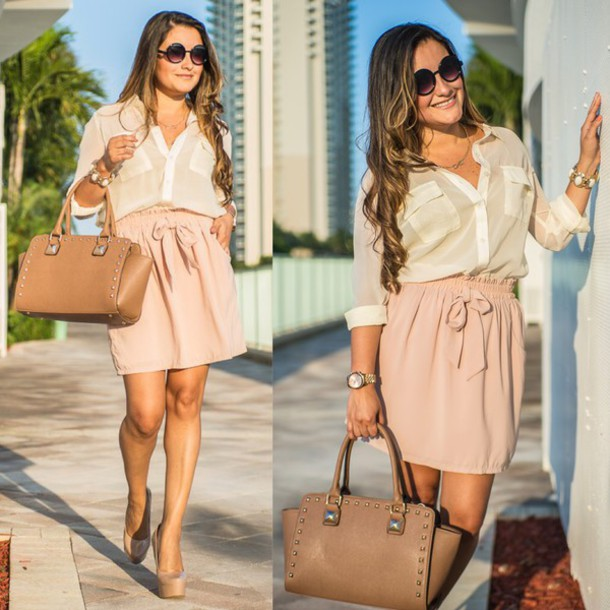 Blouse Ivory Neutral Colors Skirt Bag Sunglasses Jewels Outfit Blush Pink Studded Satchel