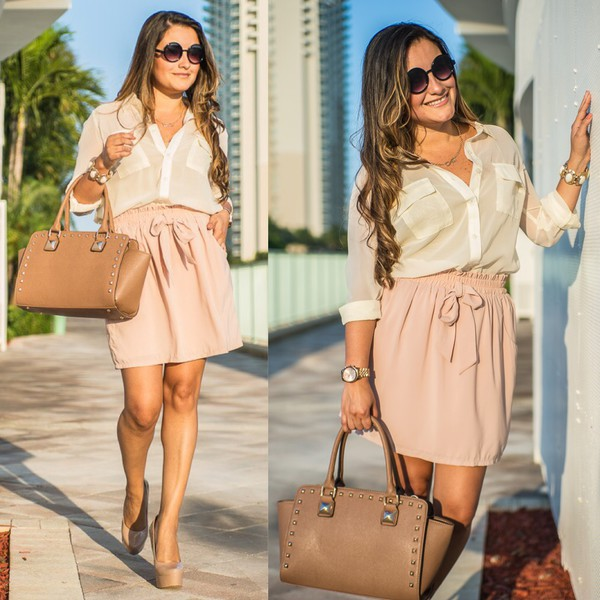 blouse ivory blouse neutral colors skirt bag sunglasses jewels outfit outfit blush pink studded satchel studded bag round sunglasses black sunglasses infinity necklace infinity love nude pumps nude high heels nude blush skirt beige blouse tan satchel tan bag studded purse love shopping miami loveshoppingmiami fashion blogger fashion blog miami miami fashion blogger style blogger style fashion style blog