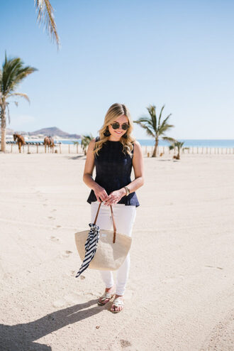 bows&sequins blogger top jeans bag scarf shoes sunglasses jewels raffia bag sandals white pants spring outfits