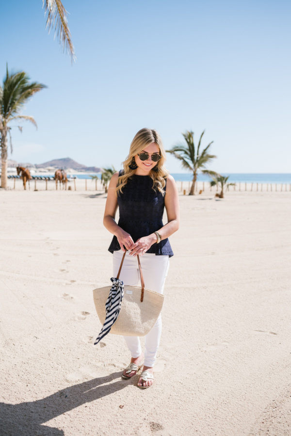 bows&sequins blogger top jeans bag scarf shoes sunglasses jewels raffia bag sandals white pants spring outfits