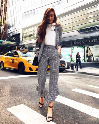 pants tumblr kick flare grey pants cropped pants top white top fall outfits matching set plaid grey blazer sandals sandal heels high heel sandals plaid pants
