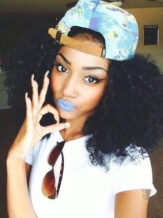 hat snapback blueberry blue eyebrows nails cutenails eyeliner cateye curly hair curly