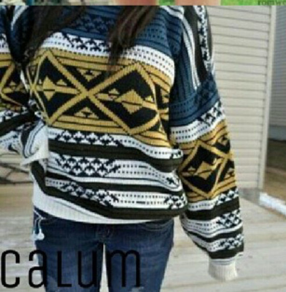 jumper chic yellow aztec sweater casual