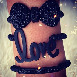 jewels love bracelets black glitter bows valentines day