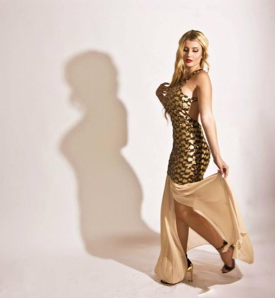 dress glitter dress glamour maxi dress prom gown gold sequins little black dress
