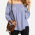 Blue White Stripe Off The Shoulder Tie Cuff Blouse -SheIn(Sheinside)
