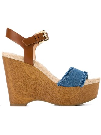wood women sandals wedge sandals leather cotton blue shoes
