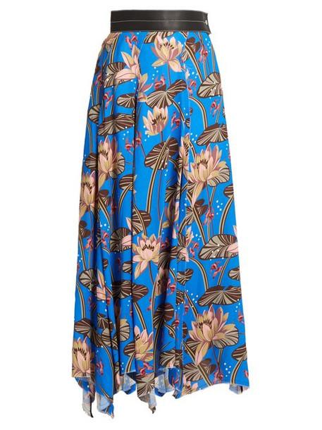 Loewe - X Paula's Ibiza Floral Print Asymmetric Hem Skirt - Womens - Blue Print