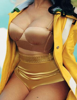 swimwear nicki minaj copper top crop tops gold sexy vintage bra bra top lingerie underwear